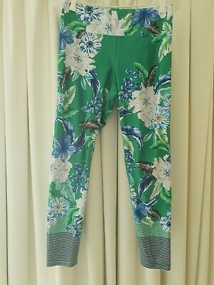 AU26 • Buy Dharma Bums Green Floral Striped 7/8 Length Tights - Size L