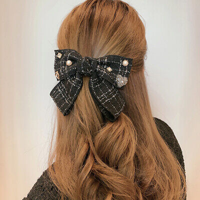 $ CDN4.64 • Buy Bow Hairpin Clip Hair Accessories Fabric Rhinestone Spring Clip For Women Girls