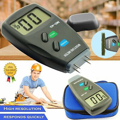 4-Pin Digital Moisture Meter PRO Damp Detector Timber Wood Tester Plaster Sensor • 10.89£
