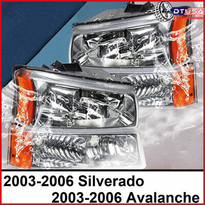 $64.99 • Buy Chrome Housing Amber Headlights Assembly For Chevy Avalanche Silverado 03-06