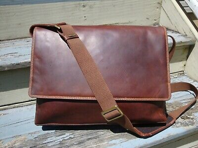 VISCONTI Leather Brown Messenger Laptop Computer Business Briefcase Mens Oiled  • 56.74£