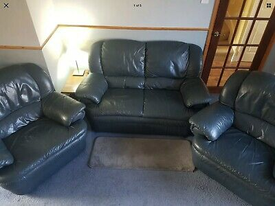 Leather Three Piece Suite Used.  3 Seater Sofa And 2 Arms Chairs • 100£