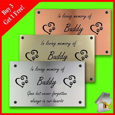 £5.80 • Buy Personalised Engraved Copper/Silver/Gold Effect Pet Dog Memorial Plaque 11cmx6cm