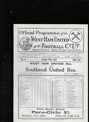 West Ham United Reserves V Southend United Reserves 14-10-1933 • 44.99£