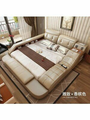 $ CDN2877.93 • Buy Real Genuine Leather Bed With Massage /double Beds Frame King/queen Size Bedroom