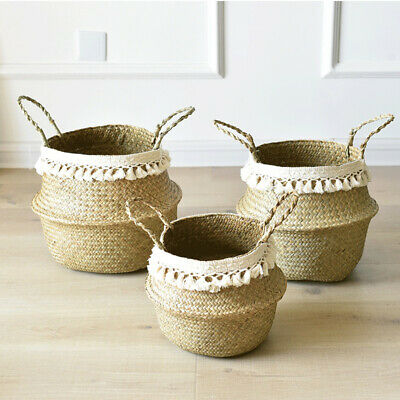 Seagrass Basket Belly Flower Plant Woven Storage Wicker Pot Home Laundry Decor • 9.99£