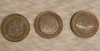 Rare X3 2 Pound Coin Gibraltar Job Lot/bundle (battle Of Traf, Referendum &more) • 10.50£