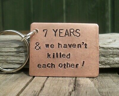 £12.99 • Buy Funny 7 YEARS 7th Wedding Anniversary Copper Gift Husband Wife Keychain Keyring