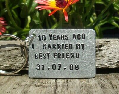 10th Wedding Anniversary Gifts For Men Her Aluminium Tin Personalised Keyring • 12.99£