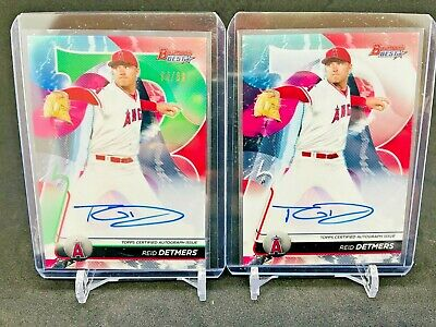 $ CDN1 • Buy LOT Of 2 Reid Detmers AUTO Green Refractor 4/99 2020 Bowmans Best