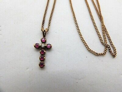 AU225 • Buy Macy's 9ct Gold Ruby And Diamond Cross Pendant + Chain Necklace 375 9k