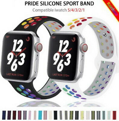 $ CDN2.22 • Buy Silicone Breathable Strap For Apple Watch Rainbow Band IWatch Series 6 5 4-1 SE