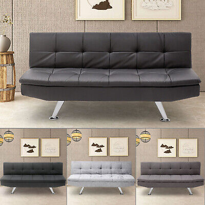 Fabric Sofa Bed 3 Seater Padded Sofabed Chrome Legs Cube Design Various Colours • 180.99£