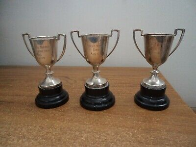 £8 • Buy 3 X Small Silver Plated Engraved Trophies On Wooden Bases