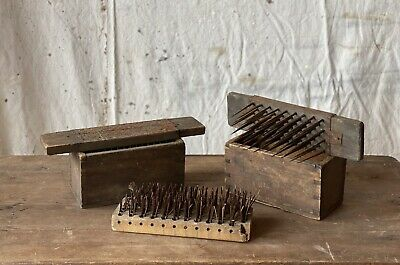 $ CDN222.35 • Buy Antique Set Of 3 Flax Combs With Dovetailed Cases Holders Primitive Folk