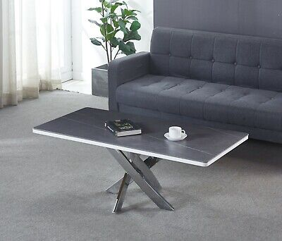 Italian Ceramic Grey Top Coffee Table With Cross Chrome Legs, Matching Dining • 259£