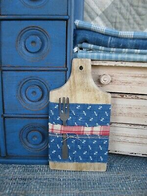 $ CDN60.99 • Buy Antique Child's Wood Bread Board W Early Blue & Red Calico Antique Tin Toy Fork
