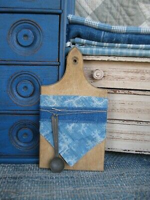 $ CDN60.99 • Buy Antique Child's Wood Bread Board W Early Blue Calico Old Toy Tin Scoop