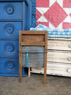 $ CDN60.99 • Buy Antique Wood  & Tin Toy Pet Washboard Original Blue Paint W Old Toy Clothespin
