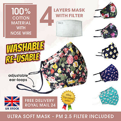 £1.49 • Buy Pure Cotton Face Mask 4 Layers Nose Wire With PM2.5 Filter Reusable Washable UK