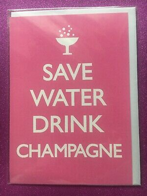 £2.29 • Buy Bnwt New Save Water Drink Champagne Pink Blank Birthday Card Top Look Cheap