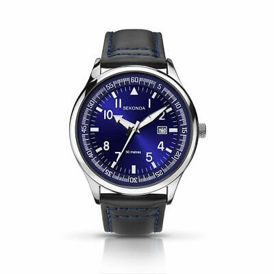 £24.99 • Buy Sekonda Mens Watch With Midnight Blue Dial & Black Leather Strap 1462