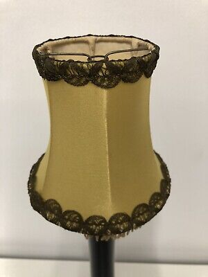 Vintage Gold Small Lampshades Tassels Fringe Lace Effect Trim Clip Ditsy Chintz • 7.99£
