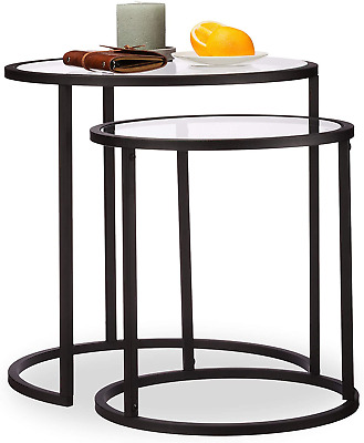 Relaxdays Nesting Set Of 2, Coffee Table With Glass Top, Compact Storage, Black, • 187.85£
