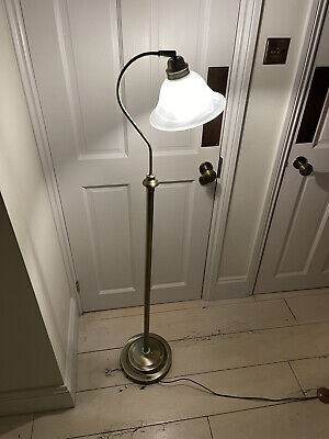 Antique Gold Floor Lamp With Glass Shade And Foot Switch • 50£