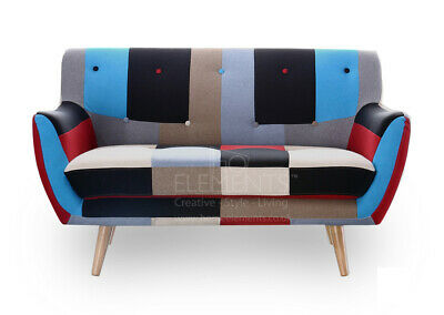 £465 • Buy Patchwork 2 Seater Sofa Retro Scandinavian Compact Design FREE Delivery UK Stock