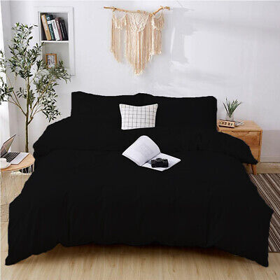 AU22.99 • Buy    Soft Microfiber Black Quilt Duvet Doona Cover Set King Queen Size Bedding Set