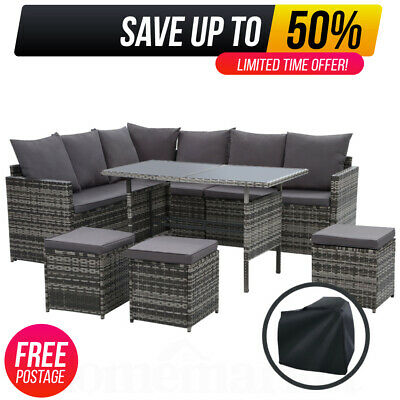 AU766.20 • Buy 9 Seater Outdoor Wicker Dining Setting Sofa Ottoman Chairs Set Lounge W/ Cover