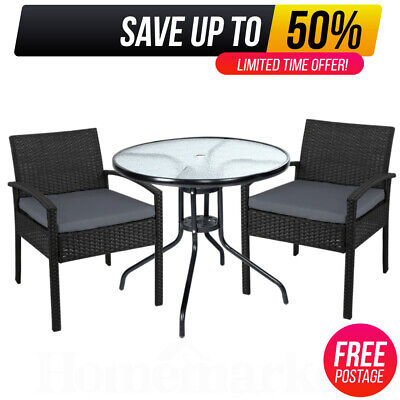 AU217.10 • Buy 3pcs Outdoor Patio Furniture Coffee Chairs Table Patio Setting Bistro Set Wicker
