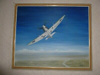 £49.95 • Buy Peter Halliday Aviation Oil Painting On Canvas Framed Spitfire