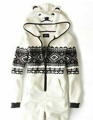 American Eagle Outfitters Womens Cream Black Bear Sherpa Pajama Jumpsuit XS/S • 25.29£