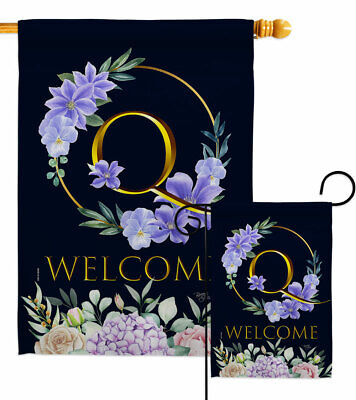 $ CDN53.19 • Buy Welcome Q Initial Garden Flag Floral Spring Decorative Gift Yard House Banner