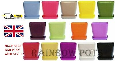 Plastic Flower Plant Pots, Modern Square Gloss, Orchid With Saucer SET 1 - 3 - 5 • 7.59£