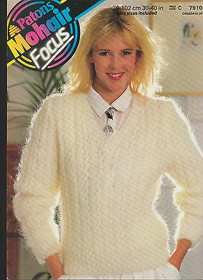 Knitting Pattern - Patons 7910 - Teens/Lady's Mohair V Neck Sweater 30-40  • 2.65£