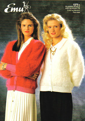 Knitting Pattern - Unused Emu 1375 - Teens/Lady's Mohair Cardigan  28 - 42  • 2.65£