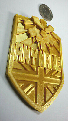 Custom Made With Your Name - BRIT-CITY Judge Dredd Golden Badge - Prop/Cosplay • 7.99£