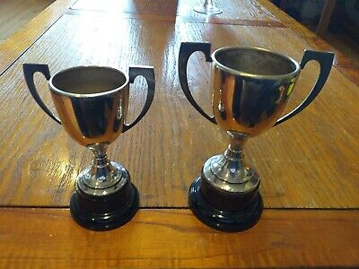 £9.99 • Buy Pair Of Vintage EPNS Twin Handled Trophies With Plastic Base Blank