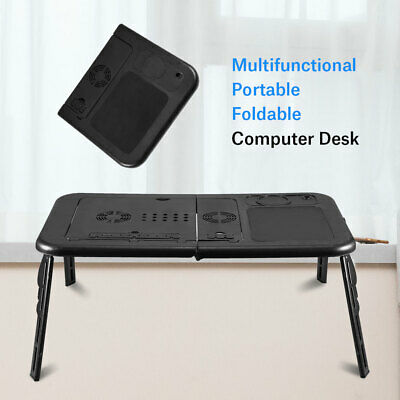 UK Folding Laptop Desk Adjustable Computer Table Stand Tray Bed Sofa Cooling Fan • 22.37£