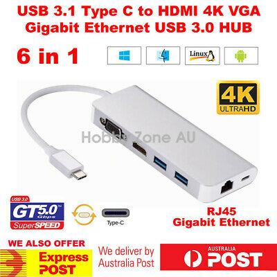 AU36.85 • Buy USB 3.1 Type C To 4K HDMI VGA RJ45 Gigabit Ethernet USB HUB 6in1 Charge Adapter