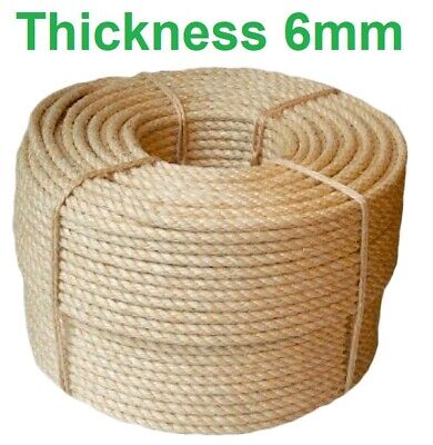 6 Mm Thick Heavy Duty Jute Rope High Quality Twisted Braided Garden Decking Cord • 1.61£