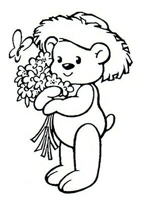 Easter - Animal - Teddy Bear - Flowers Unmounted Clear Stamp Approx 50x72mm • 4.09£