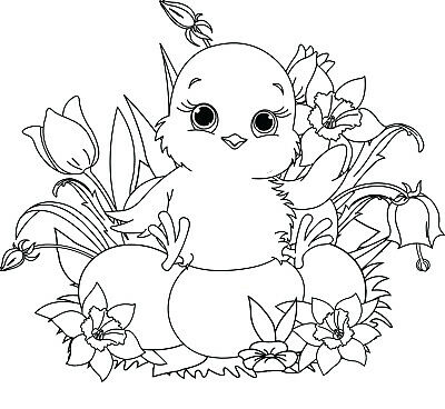 Easter - Animal - Chick - Chicken - Flowers Unmounted Clear Stamp Approx 60x55mm • 2.99£