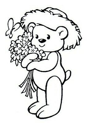 Easter - Animal - Teddy Bear - Flowers Unmounted Clear Stamp Approx 41x60mm • 2.99£