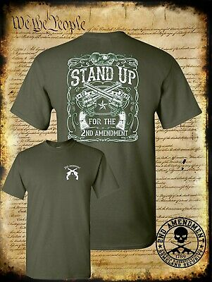 $15.95 • Buy Stand Up For The 2nd Amendment Double Sided T-Shirt / USA Pro-Gun Rights Freedom
