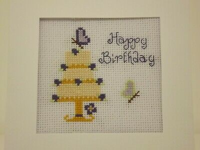 £4.50 • Buy Beautiful Cross Stitch Birthday Card Kit Cream Cake Purple Butterflies