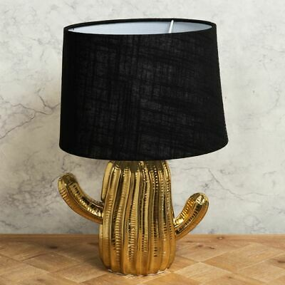 Gold Ceramic Cactus Table Lamp With Black Shade Tropical Light • 32.99£